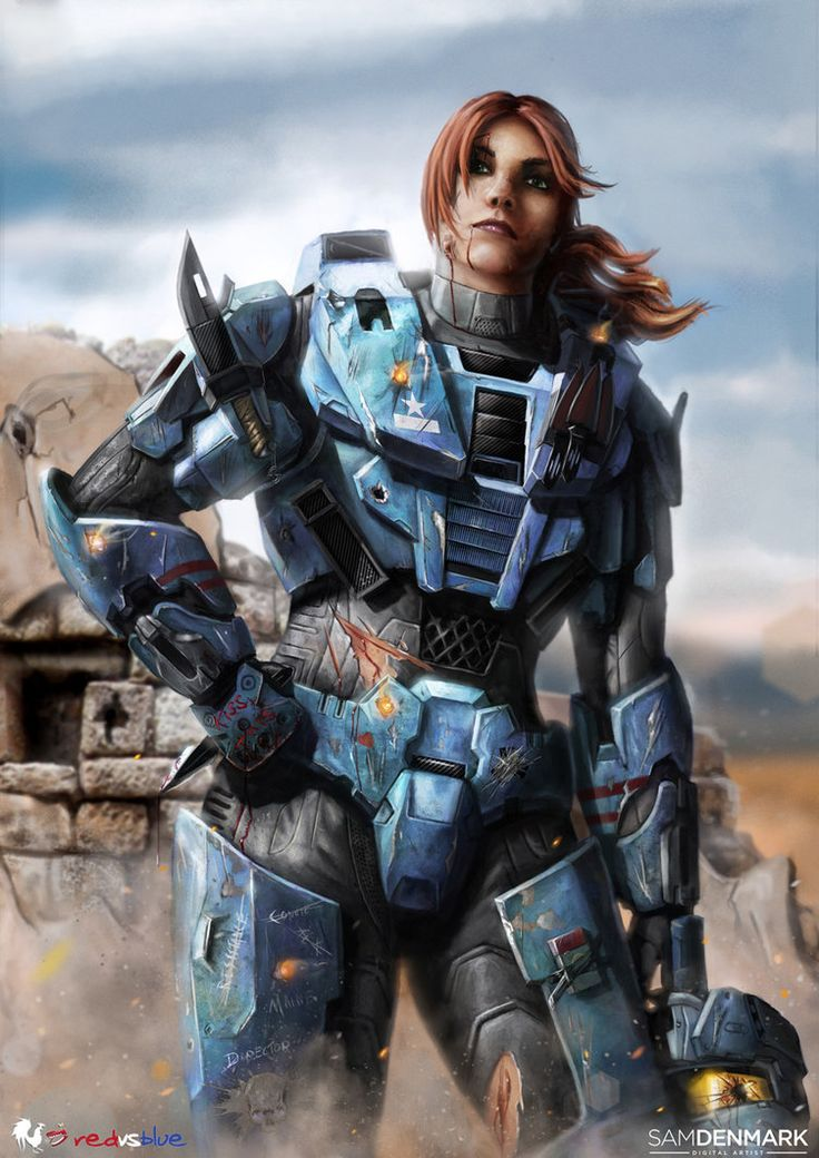 Carolina - Red vs Blue. Best fighter from the freelance project. Always the leader in every mission [until another lady figher bested her], very passionate and loyal about her team. And can really kick some ass.