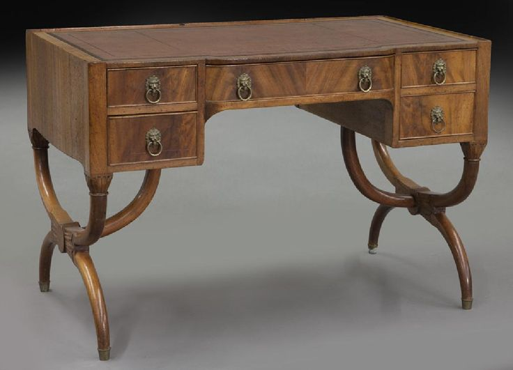 Lot: Regency style mahogany leather top desk,, Lot Number: 0380, Starting Bid: $50, Auctioneer: Dallas Auction Gallery, Auction: The Philip Maia Collection - Session Two, Date: January 26th, 2017 CST