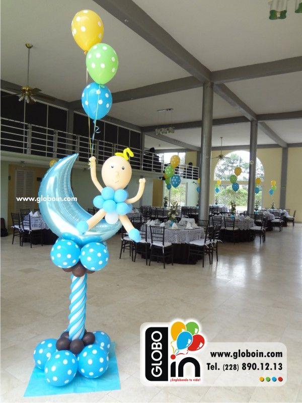 Columna de globos bebe decoracion con globos en xalapa - Decoracion columnas salon ...