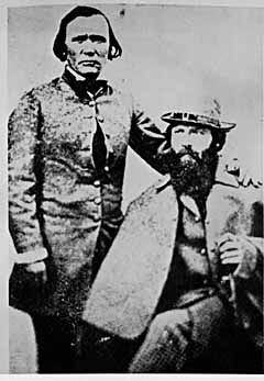 Kit Carson, standing, and John C. Fremont.  John C. Fremont put Las Vegas on the map,  ran for president, and freed slaves before Abraham Lincoln did. He was the first candidate of the anti-slavery Republican Party for the office of President, and freed slaves during the Civil War for which he was court-martialed.  photo ca. 1863