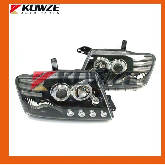 460.00$  Watch now - http://ali0ec.worldwells.pw/go.php?t=1790376183 - Angel Eyes Projector Head Lamp With Convex Lens Optic For Mitsubishi Pajero Montero Shogun III 2000 - 2008 MN133749 MN133750 LED
