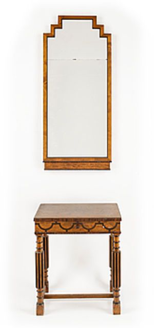 313720. SPEGEL med HALLBORD, art deco, 1920/30-tal. Art deco mirror and console table