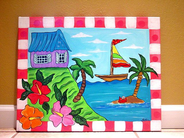 easy canvas painting ideas tropical beach ocean sea painting kids wall art canvas nursery - Painting Images For Kids