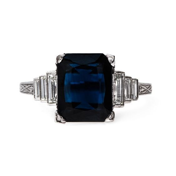 Deep navy blue vintage Art Deco sapphire