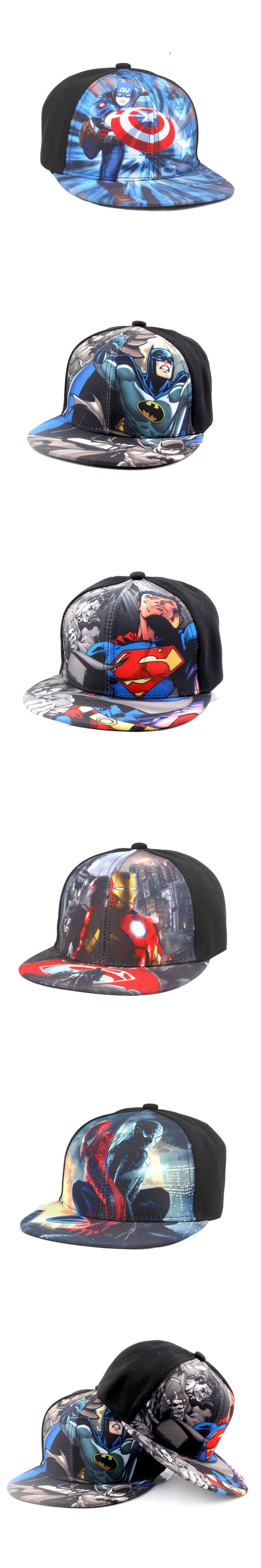 2017 New Batman VS Superman fashion spiderman Iron man cartoon casual mesh cap hip-hop baseball hat adjustable for kids boy girl
