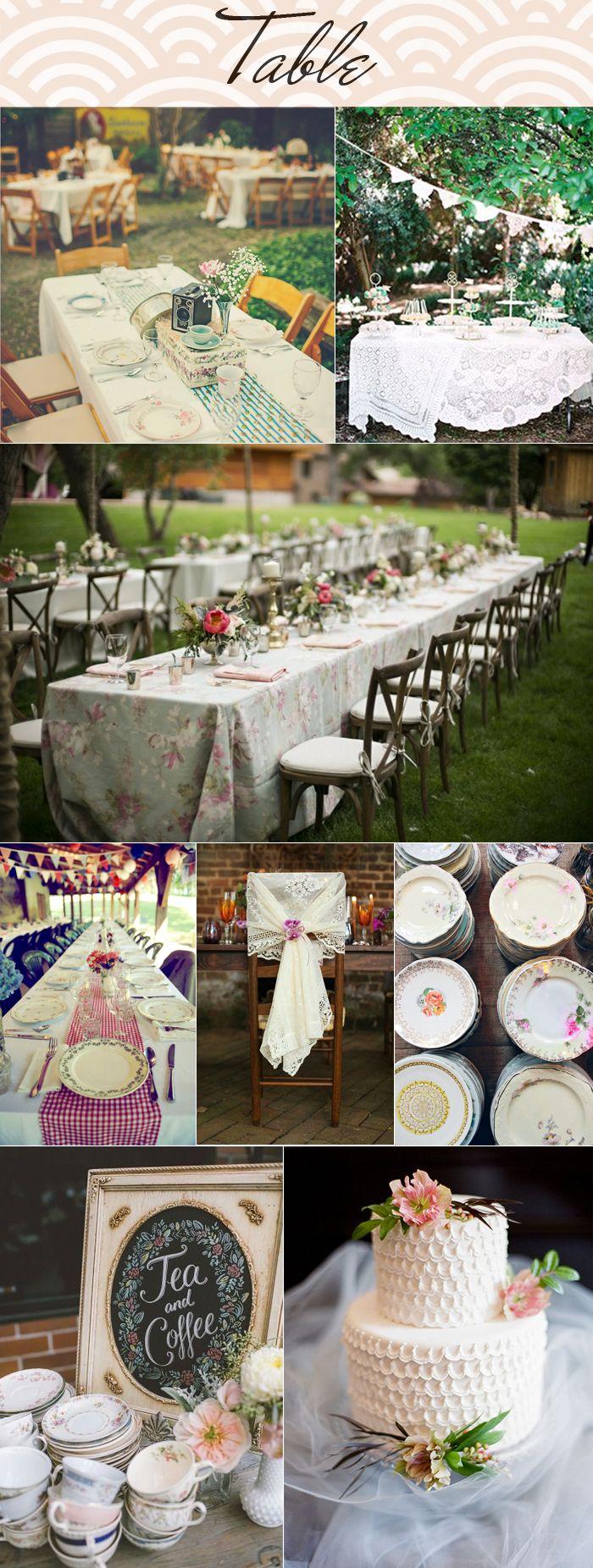 Mariage Vintage.  Tableau d'inspiration table. De longues tables comme pour un repas de famille.  Assiettes vintage dépareillée . nape dentelle / cheminde table vichy à carreau rouge / chaise en bois / fanion en tissus.