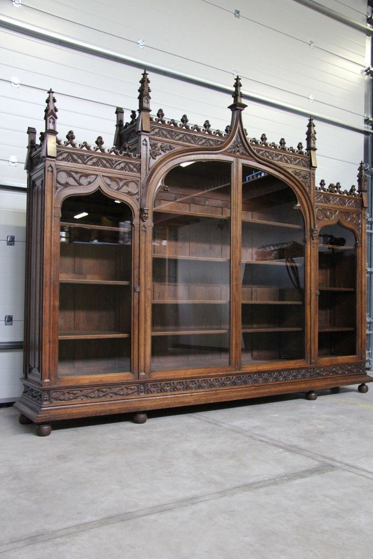 RARE and Magnificent Monumental French Gothic Bookcase in Walnut | eBay