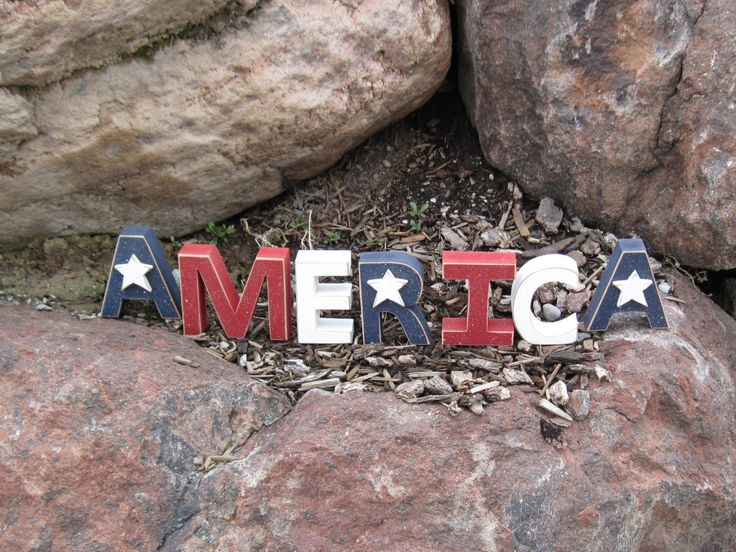 America Blocks For July 4th Shelf Desk And Americana Home Decor