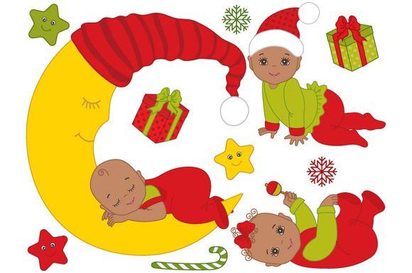 African American Christmas Babies by Tanita_B on @creativemarket