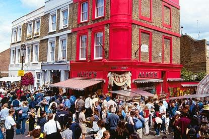 Portobello Road is a street in west London. On Saturdays it is home to Portobello Road Market, one of London's notable street markets, known for its second-hand clothes and antiques.