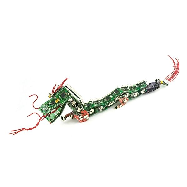Sparkfun - spiders and dragons made from circuit boards.