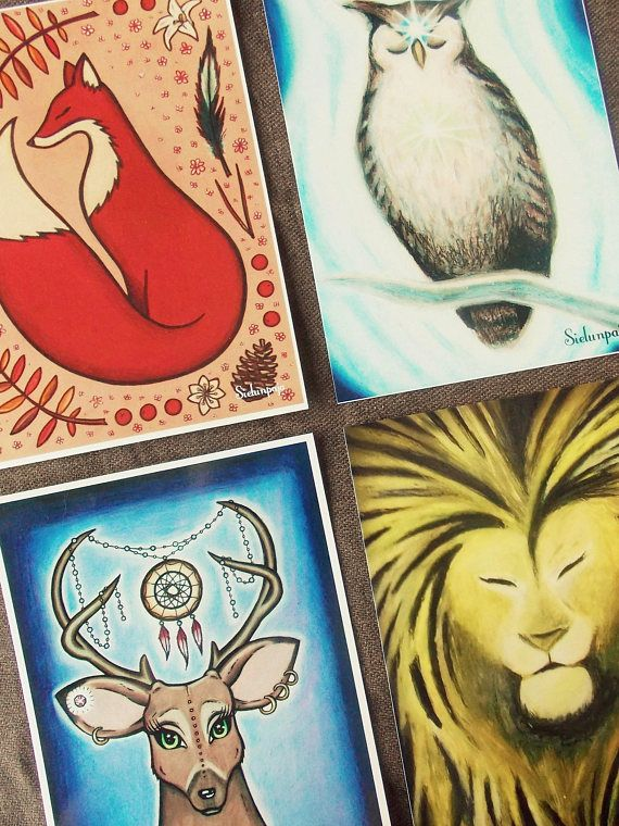 Set of 4 High Quality Art Postcards, Spirit Animals (Fox, Owl, Deer, Lion)