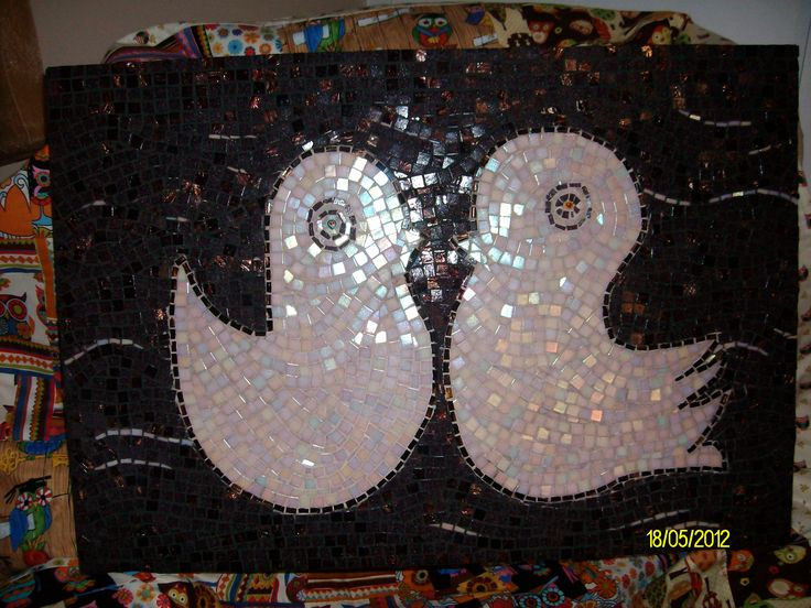 "mosaic pano 40cmx 60cm  ""Love Birds"" for my friends bedroom."