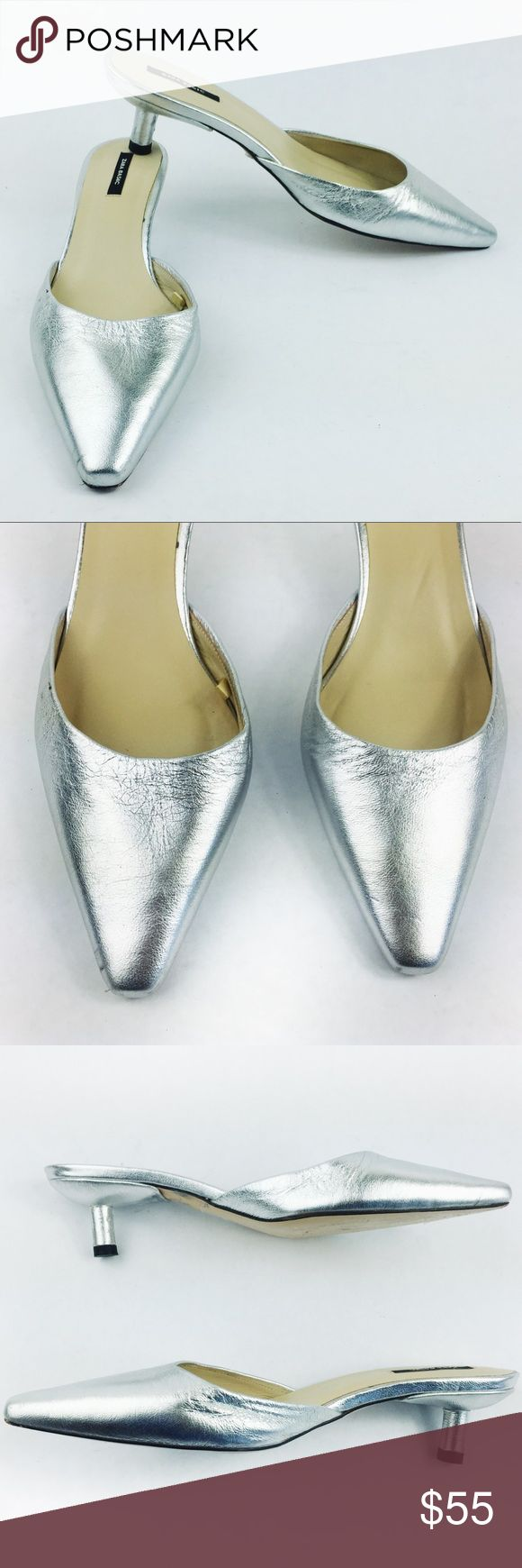 ZARA SILVER KITTEN HEELS SIZE 8 Sexy Zara silver kitten heels in size 8. Excellent used condition, minor scuffing as shown on zoom pics and minor wrinkling due to being in a closet. Just gorgeous to wear with skinny jeans or a nice dress! MAKE AN OFFER! 👌💫 Zara Shoes Heels