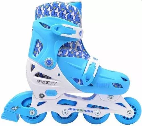 patins roller infantil snoopy boys ajustável 34 ao 37 azul