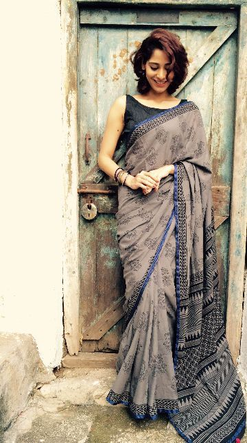 Buy Grey Hamza Mul Cotton Saree