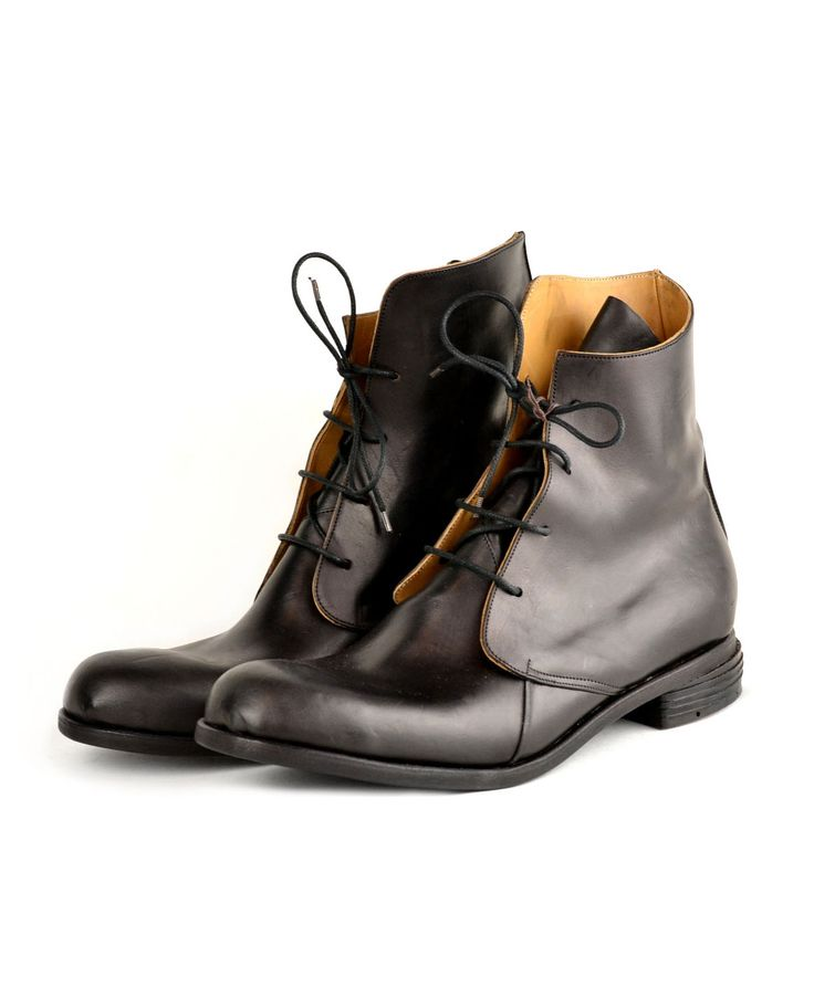 Shop FOGEY MUSTANG BOOT – by Andrew McDonald, €882 at Vathir.com | Black mustang horse leather. All leather sole, insole, heel and lining. Blake stitched double sole construction.  All shoes from Andrew McDonald are handmade to order, please allow 2-4 weeksfor production and shipping.