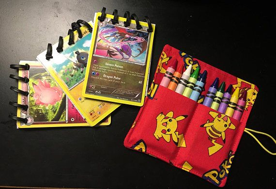 Three 3 Pokemon Card Mini Notebooks and crayon holder