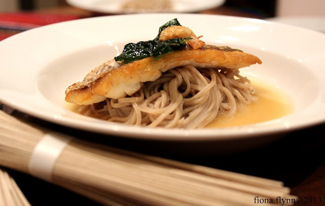 Crispy Skin Snapper with Fried Kale, Soba Noodles and Miso Broth