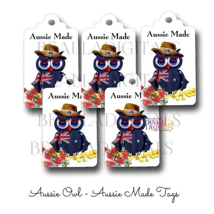 50 Aussie Made Owl  Small Swing Tags - Paper Product - Printed Material