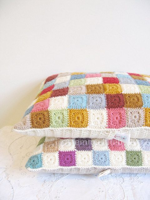crochet cushion cover Agnes  patchwork tiny squares by emmalamb, £65.00