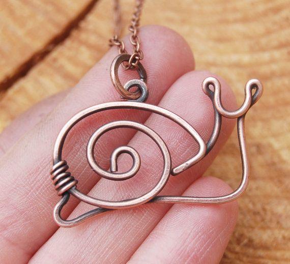 Snail. Pendant. Necklace. Copper. Oxidized. Wire Jewelry