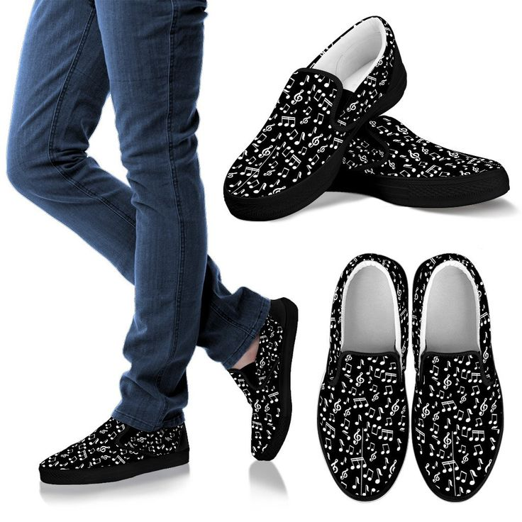 New in our shop! Mens Slip On Shoes. Black Music Note Design http://oompah.shop/products/mens-slip-on-shoes-black-music-note-design