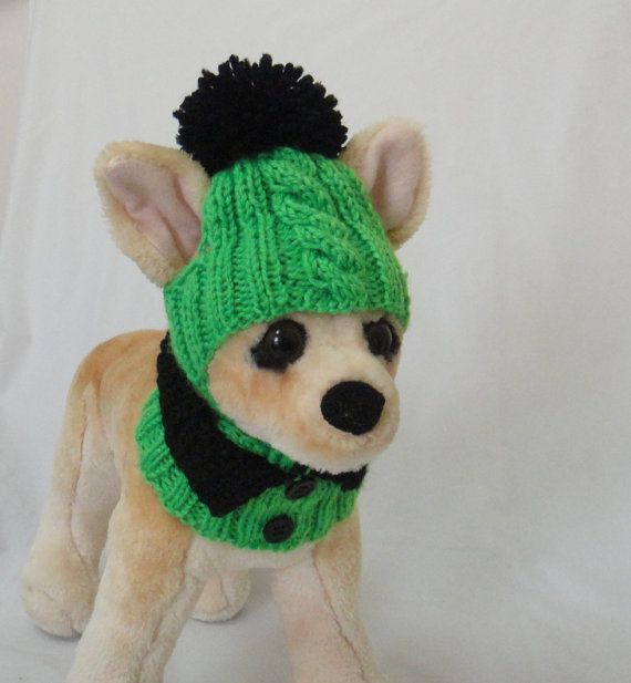 Pet Clothes Dog Hat and Fancy Scarf for Small Dogs Hand Knitted Christmas Gift on Etsy, $18.00