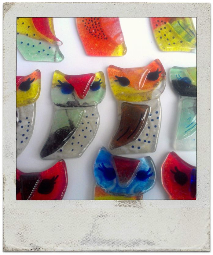 Owls - fused glass magnets