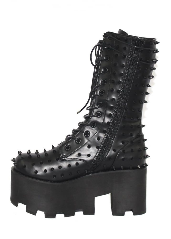 Black Metal Gothic Boot | Gothic boots, Boots, Womens gothic