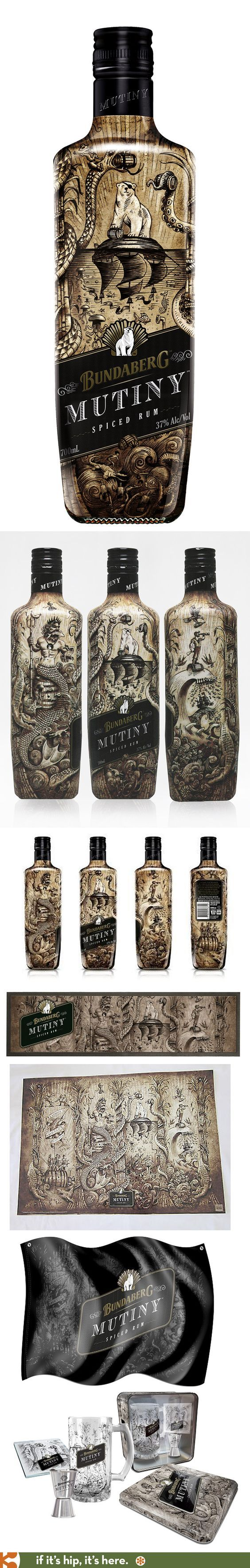 Australia's Bundaberg Mutiny Spiced Rum has a wonderfully illustrated #bottle and collateral pieces PD #design #bottledesign: