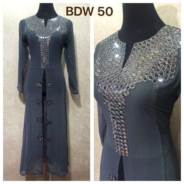 BDW 50 Georgette designer kurties with real mirror hand work.  Size 40,42 & 44.  Price 1700 rs + shipping  with attached inner. call / whatsapp: +91 9425052960