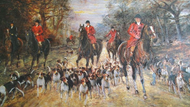The  Hunt, Vintage Foil Dufex Print England Horse, Riders & Hounds No 152584