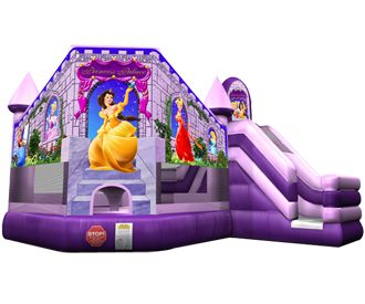 Princess Palace 3n1 Bounce House Combo. Jump, Climb & Slide. This inflatable is a must have for any Princess Party! Available from ASTRO JUMP - ATLANTA