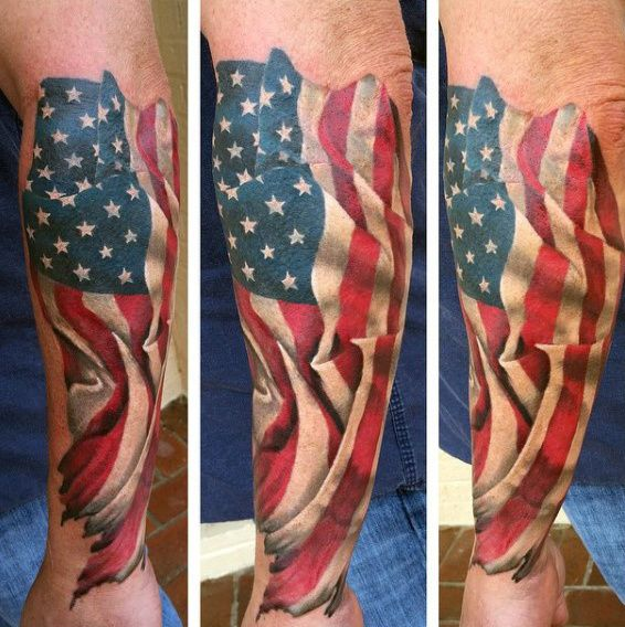 Manly American Flag Waving Guys Patriotic Forearm Tattoos
