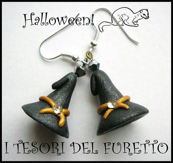 Orecchini Halloween cappello da strega nero fimo