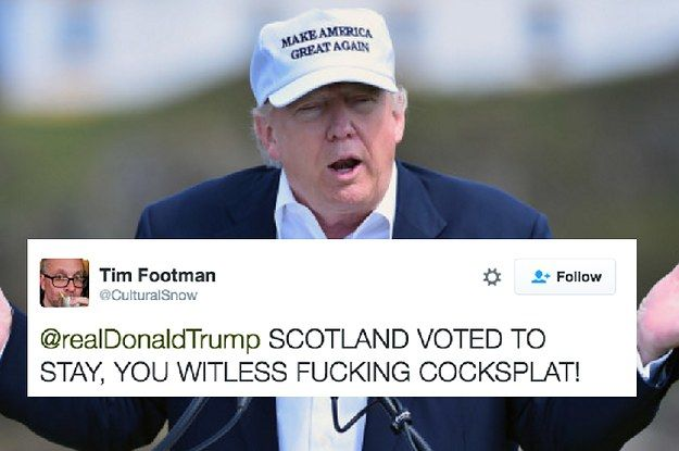 People Are Dragging Donald Trump After His Brexit Tweet About Scotland... And I just found my new favorite insults!