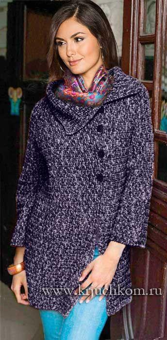 Вязаное пальто реглан на осень 2015
