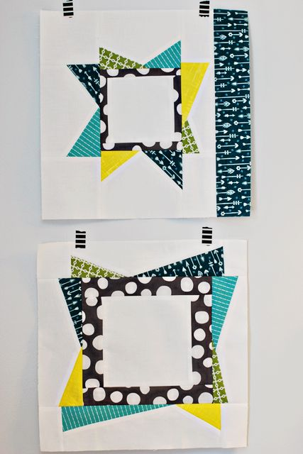 These wonky stars are from a quilt, but I think it is a cute idea for a picture frame