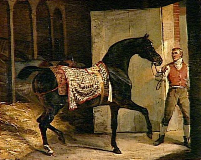 Théodore Géricault (French 1791–1824) Horse leaving Stable. Oil on canvas, 36 x 45 cm.  Musée Condé, Chantilly, France.