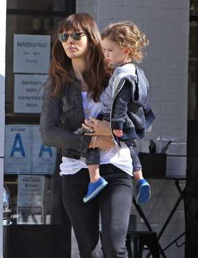 Jessica Biel stopped to grab some lunch at Joan's on Third in Studio City, California, with son Silas Timberlake on Jan. 30
