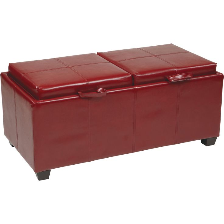 OSP Metro Storage Ottoman with Dual Trays & Cushions, Red Faux Leather