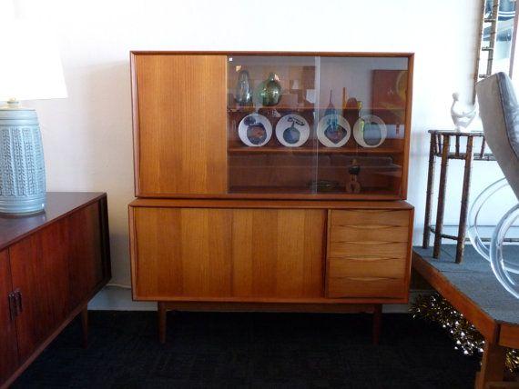 Danish Modern Teak Credenza Buffet Storage Two-Piece Storage Mid Century Modern Cabinet Mid Century Teak Credneza $2,495.00