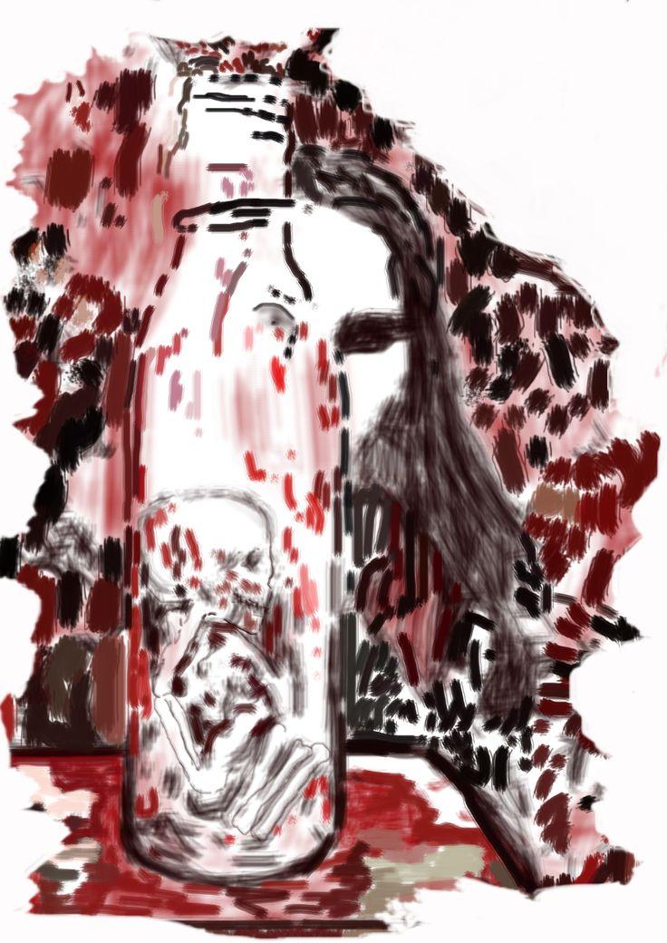 """Bosquejo de """"Eyna dentro de una botella"""" (Eyna in a Bottle) del libro: El Santuario que Arde"""" de Hernán Ergueta #hernanergueta #ilustracion #cuentos"""