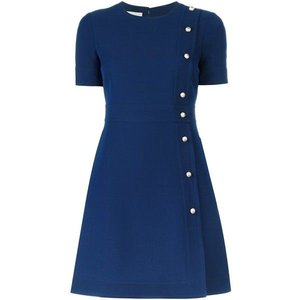 Gucci Short-Sleeves Dress in Wool ($1,610) ❤ liked on Polyvore featuring dresses, navy, gucci, navy dress, a line dress, navy blue a line dress and wool dress