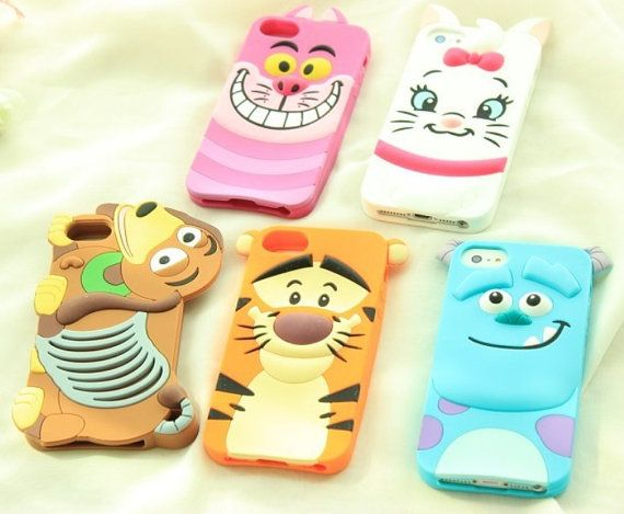 Super Cute Soft Silicone iPhone 4 4S 5 5s Samsung Galaxy S4 Note 3 2 Case Enclosure Disney Cheshire Cat Marie Slinky Dog Tigger Sulley on Etsy, $7.99