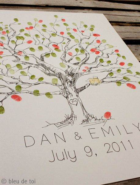 Haha!!!! I've already bought a different version of this for our wedding :) guest book finger print tree - this is such a cute idea!