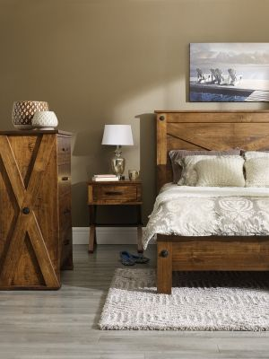This gorgeous bedroom set is made of 100% wood (Maple) construction.  The low sheen pecan finish adds warmth to your bedroom.