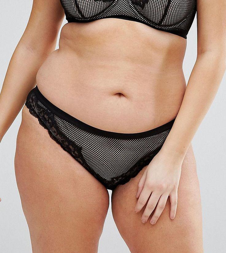 ASOS CURVE Caggie Fishnet & Lace French Underwear - Black