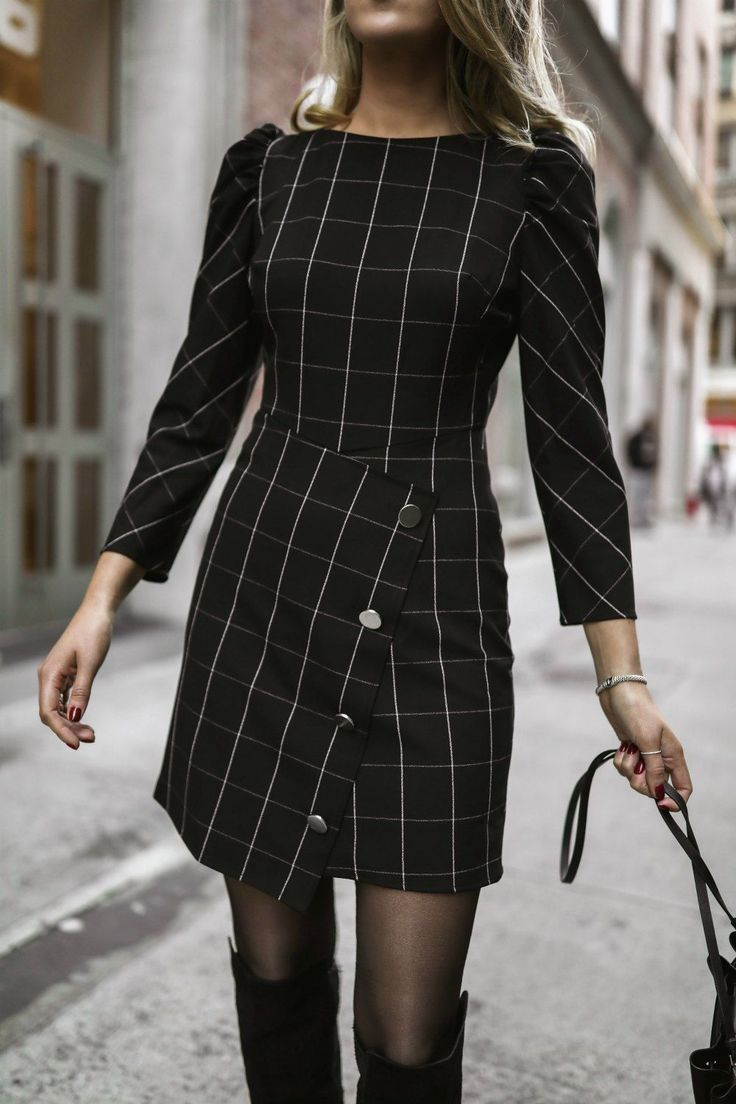 802e613ca431 Day 5: Meet The Parents // Black + white windowpane plaid mini dress with  gathered shoulders and side button details, black knee-high suede boots +  ...